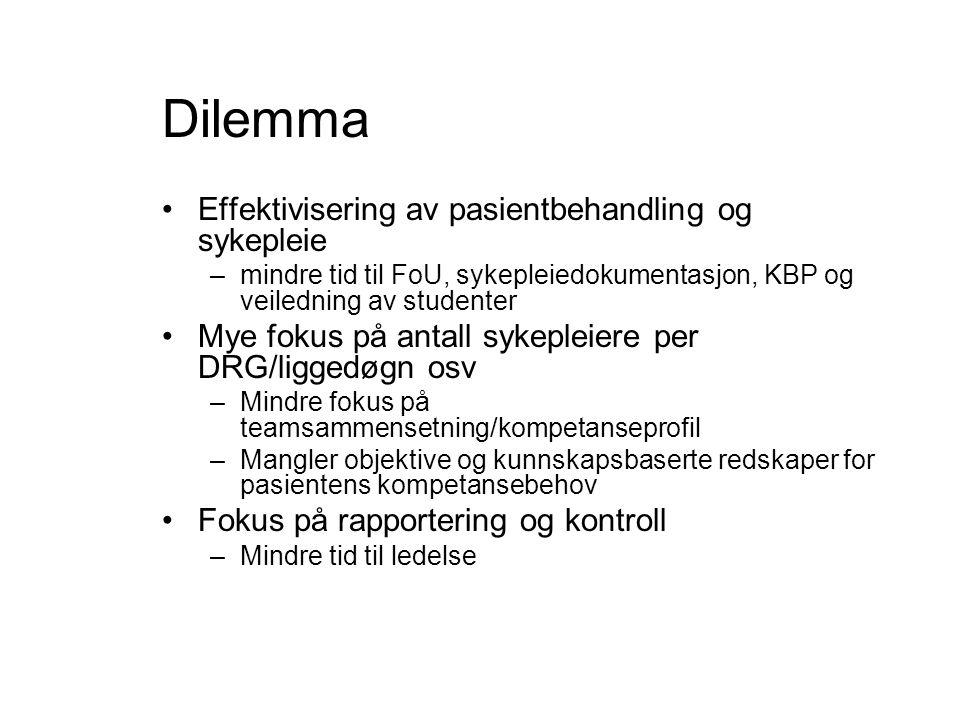 Dilemma •Effektivisering av pasientbehandling og sykepleie –mindre tid til FoU, sykepleiedokumentasjon, KBP og veiledning av studenter •Mye fokus på antall sykepleiere per DRG/liggedøgn osv –Mindre fokus på teamsammensetning/kompetanseprofil –Mangler objektive og kunnskapsbaserte redskaper for pasientens kompetansebehov •Fokus på rapportering og kontroll –Mindre tid til ledelse