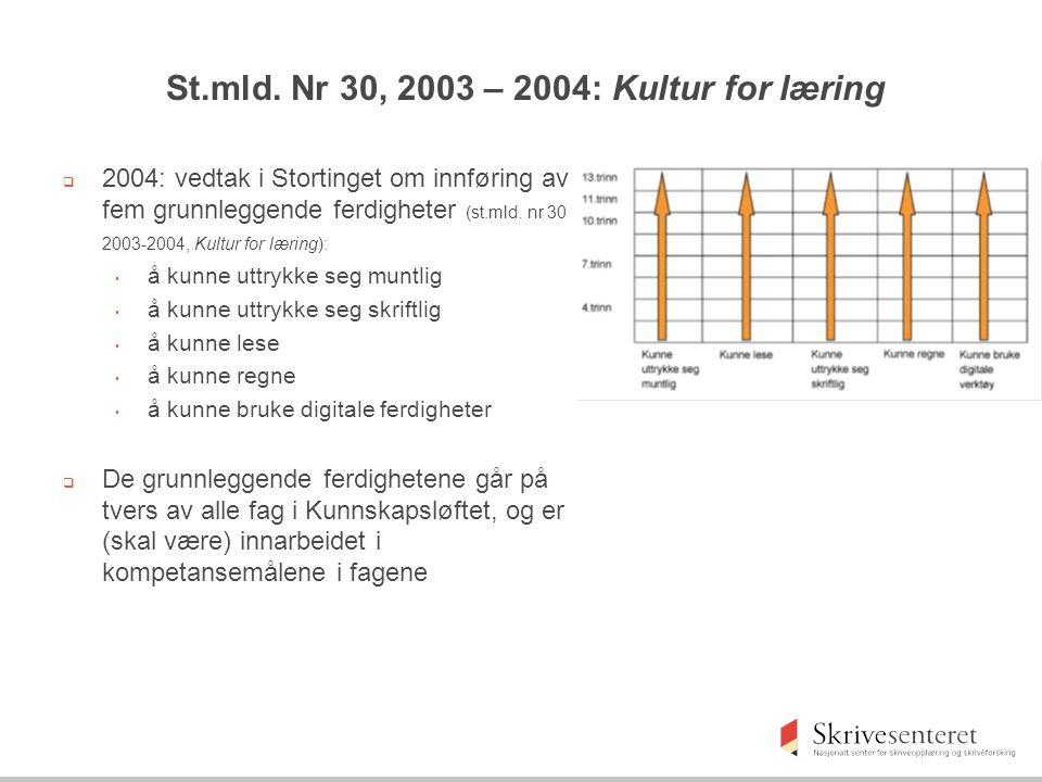 St.mld. Nr 30, 2003 – 2004: Kultur for læring  2004: vedtak i Stortinget om innføring av fem grunnleggende ferdigheter (st.mld. nr 30 2003-2004, Kult
