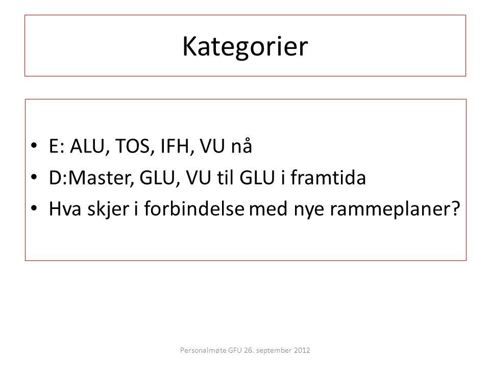 Kategorier • E: ALU, TOS, IFH, VU nå • D:Master, GLU, VU til GLU i framtida • Hva skjer i forbindelse med nye rammeplaner? Personalmøte GFU 26. septem