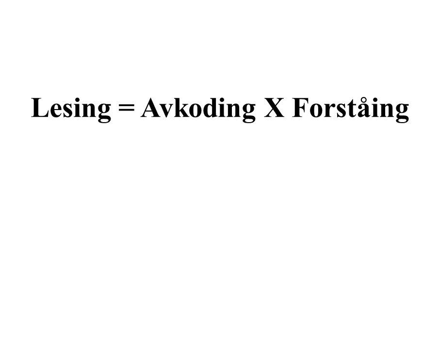 Lesing = Avkoding X Forståing Avkoding X Forståing