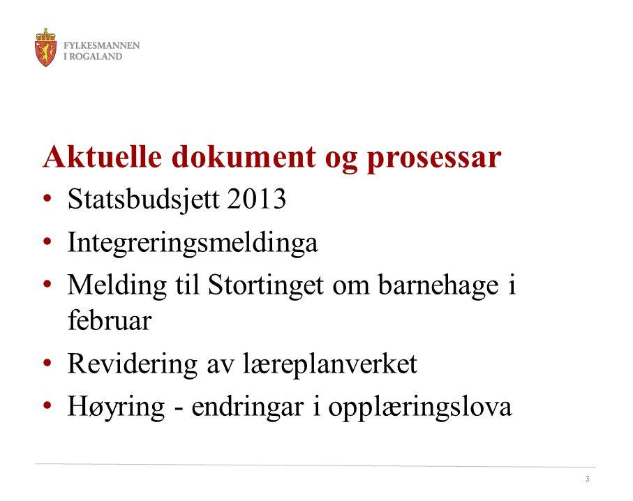3 Aktuelle dokument og prosessar • Statsbudsjett 2013 • Integreringsmeldinga • Melding til Stortinget om barnehage i februar • Revidering av læreplanverket • Høyring - endringar i opplæringslova