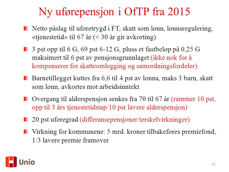 12 Ny uførepensjon i OfTP fra 2015 Netto påslag til uføretrygd i FT, skatt som lønn, lønnsregulering, «tjenestetid» til 67 år (< 30 år gir avkorting)