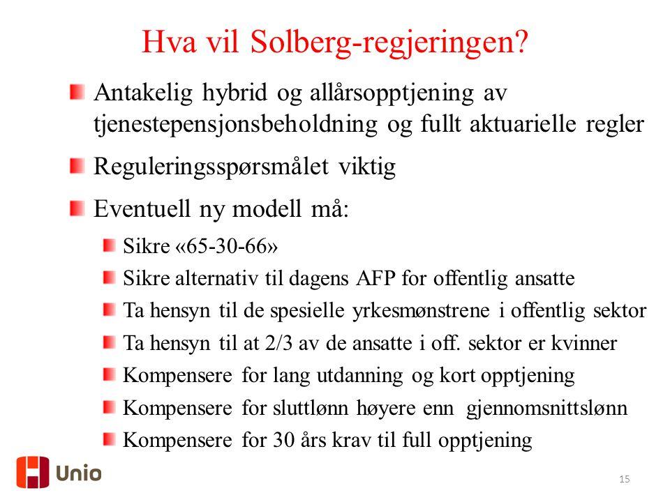 15 Hva vil Solberg-regjeringen? Antakelig hybrid og allårsopptjening av tjenestepensjonsbeholdning og fullt aktuarielle regler Reguleringsspørsmålet v