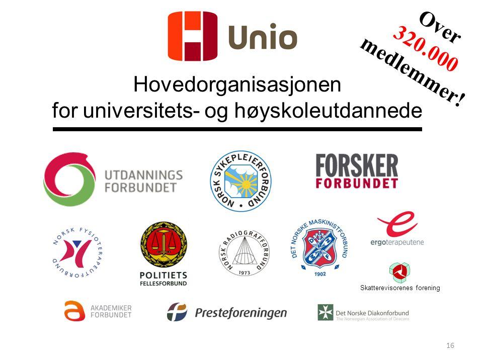 Hovedorganisasjonen for universitets- og høyskoleutdannede Skatterevisorenes forening Over 320.000 medlemmer! 16