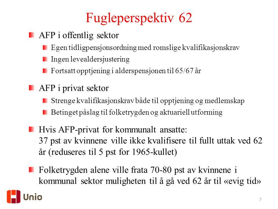7 Fugleperspektiv 62 AFP i offentlig sektor Egen tidligpensjonsordning med romslige kvalifikasjonskrav Ingen levealdersjustering Fortsatt opptjening i