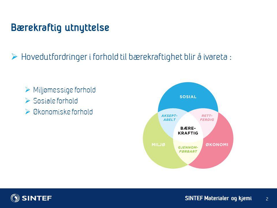 SINTEF Materialer og kjemi Bærekraftig utnyttelse 2  Hovedutfordringer i forhold til bærekraftighet blir å ivareta :  Miljømessige forhold  Sosiale