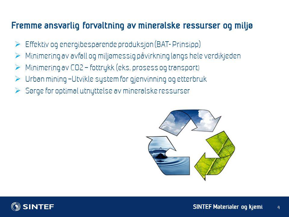 SINTEF Materialer og kjemi Fremme ansvarlig forvaltning av mineralske ressurser og miljø 4  Effektiv og energibesparende produksjon (BAT- Prinsipp) 