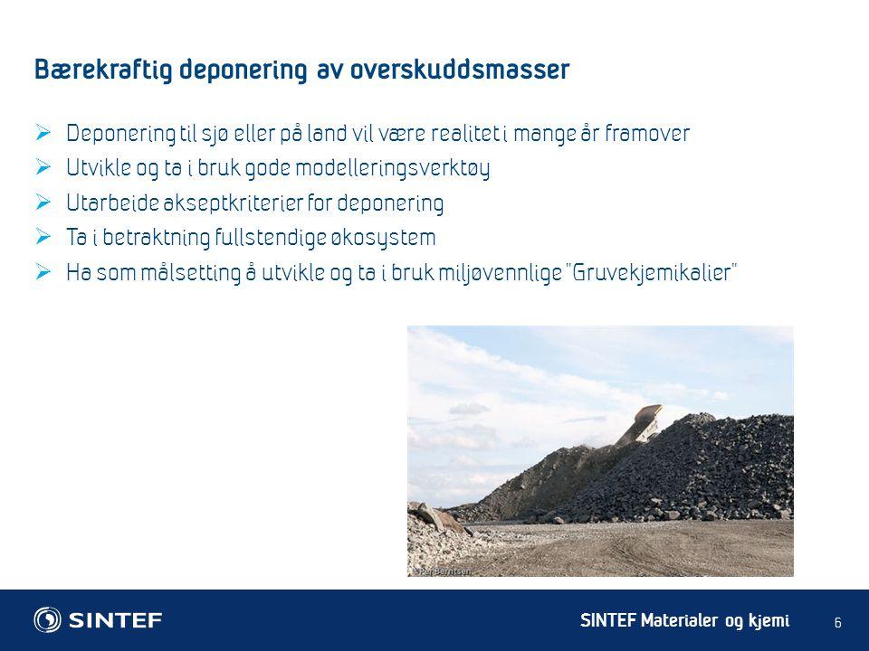 SINTEF Materialer og kjemi Bærekraftig deponering av overskuddsmasser 6  Deponering til sjø eller på land vil være realitet i mange år framover  Utv