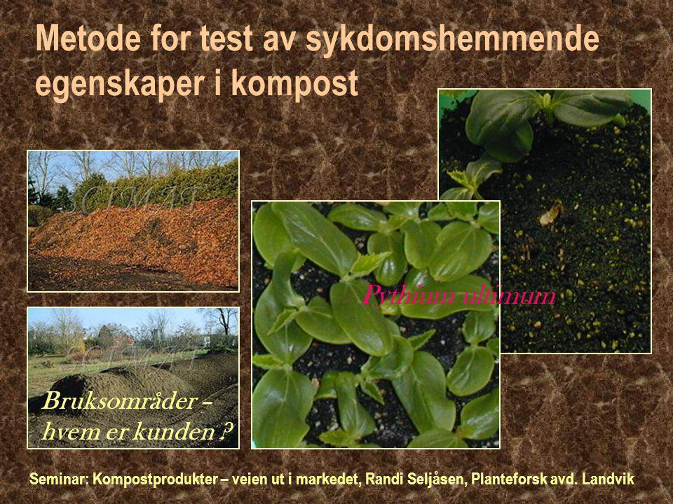 Metode for test av sykdomshemmende egenskaper i kompost Bruksområder – hvem er kunden .