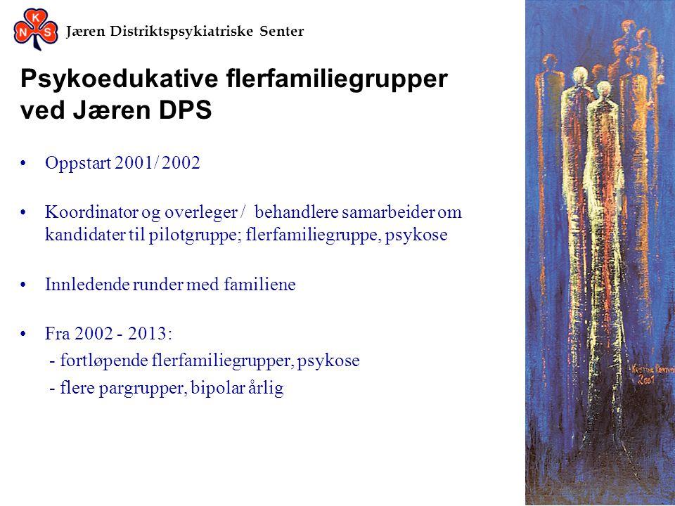 Jæren Distriktspsykiatriske Senter Psykoedukative flerfamiliegrupper ved Jæren DPS •Oppstart 2001/ 2002 •Koordinator og overleger / behandlere samarbe