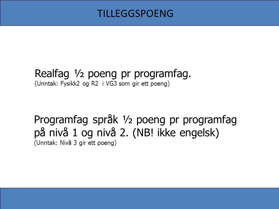 TILLEGGSPOENG Realfag ½ poeng pr programfag. (Unntak: Fysikk2 og R2 i VG3 som gir ett poeng) Programfag språk ½ poeng pr programfag på nivå 1 og nivå