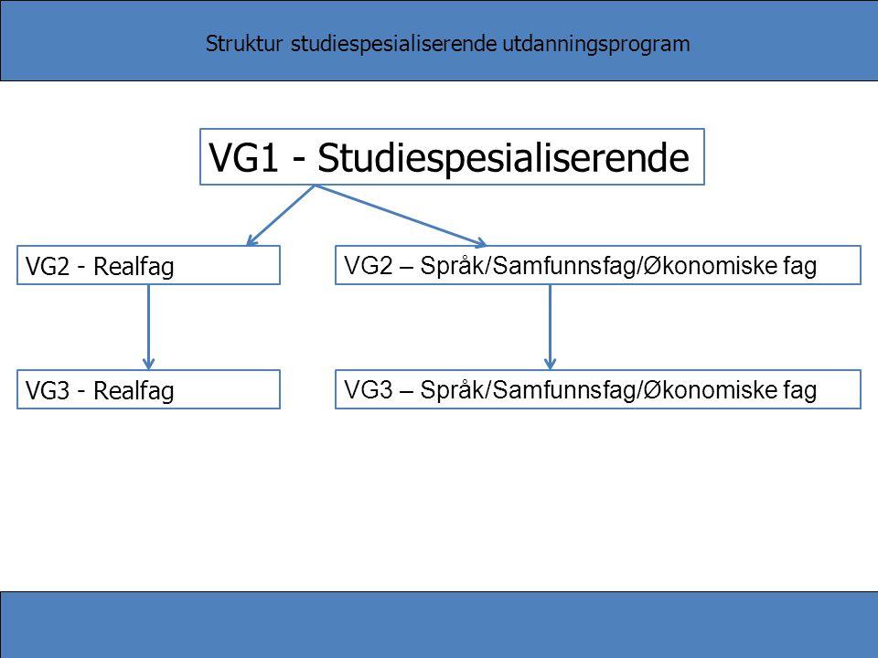 Struktur studiespesialiserende utdanningsprogram VG1 - Studiespesialiserende VG2 - Realfag VG2 – Språk/Samfunnsfag/Økonomiske fag VG3 - Realfag VG3 –