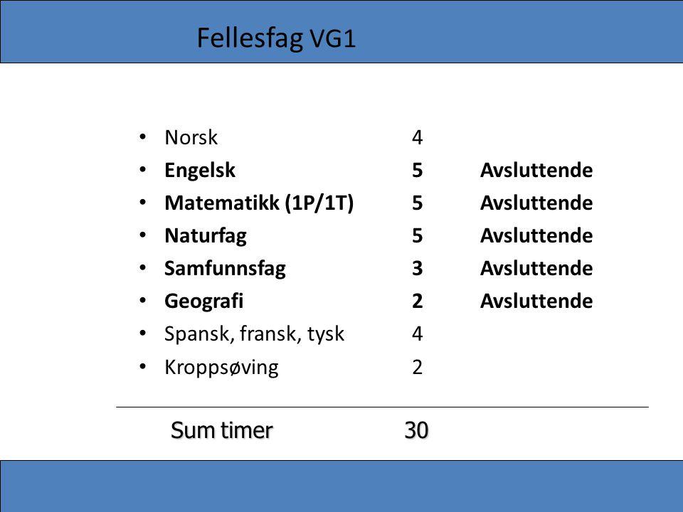 Fellesfag VG1 • Norsk4 • Engelsk5Avsluttende • Matematikk (1P/1T)5Avsluttende • Naturfag5Avsluttende • Samfunnsfag3Avsluttende • Geografi2Avsluttende