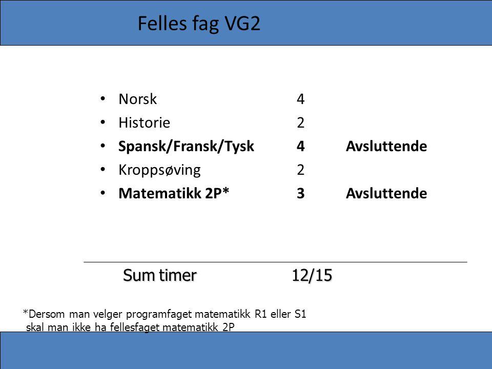 Felles fag VG2 • Norsk4 • Historie2 • Spansk/Fransk/Tysk4Avsluttende • Kroppsøving2 • Matematikk 2P*3Avsluttende Sumtimer 12/15 Sum timer 12/15 *Derso