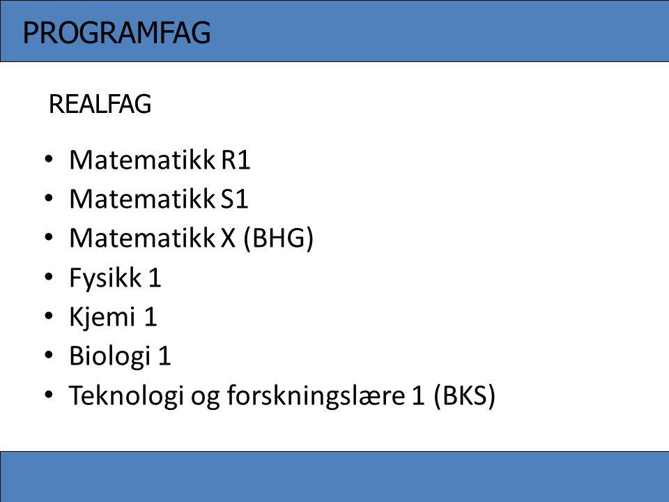 • Matematikk R1 • Matematikk S1 • Matematikk X (BHG) • Fysikk 1 • Kjemi 1 • Biologi 1 • Teknologi og forskningslære 1 (BKS) PROGRAMFAG REALFAG