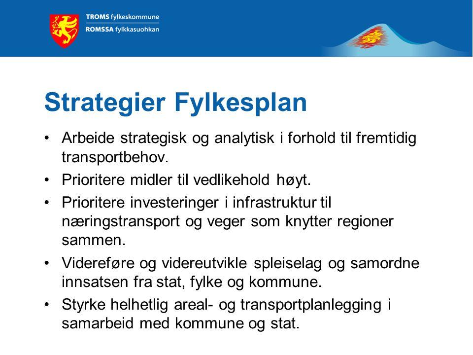 Strategier Fylkesplan •Arbeide strategisk og analytisk i forhold til fremtidig transportbehov. •Prioritere midler til vedlikehold høyt. •Prioritere in