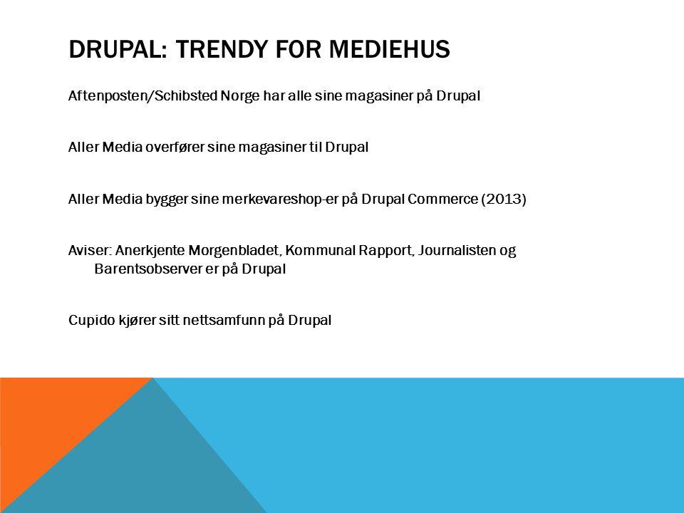 DRUPAL: TRENDY FOR UNIVERSITETER På vei til Drupal Universitetet i Bergen NTNU I Trondheim lanserer flere større sites på Drupal I 2013.