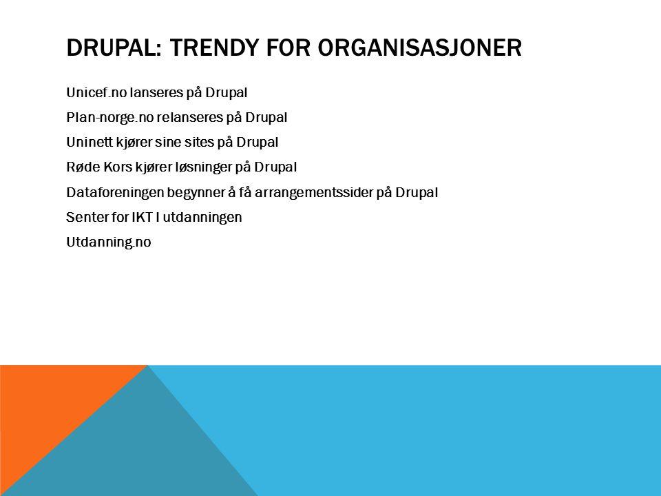 DRUPAL: TRENDY FOR ORGANISASJONER Unicef.no lanseres på Drupal Plan-norge.no relanseres på Drupal Uninett kjører sine sites på Drupal Røde Kors kjører løsninger på Drupal Dataforeningen begynner å få arrangementssider på Drupal Senter for IKT I utdanningen Utdanning.no