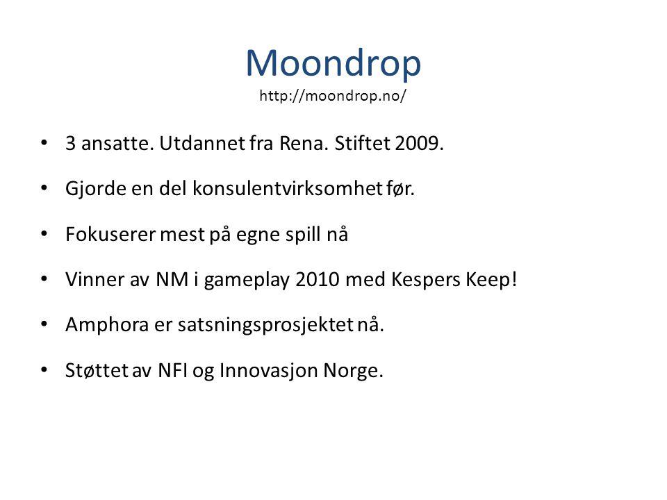 Moondrop • 3 ansatte. Utdannet fra Rena. Stiftet 2009. • Gjorde en del konsulentvirksomhet før. • Fokuserer mest på egne spill nå • Vinner av NM i gam