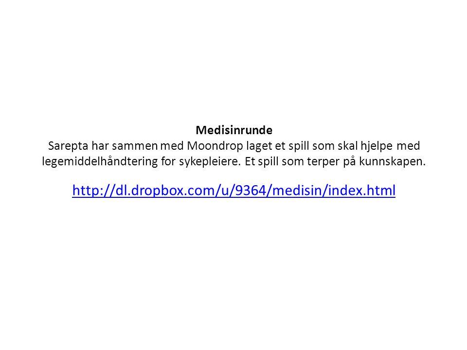 http://dl.dropbox.com/u/9364/medisin/index.html Medisinrunde Sarepta har sammen med Moondrop laget et spill som skal hjelpe med legemiddelhåndtering for sykepleiere.