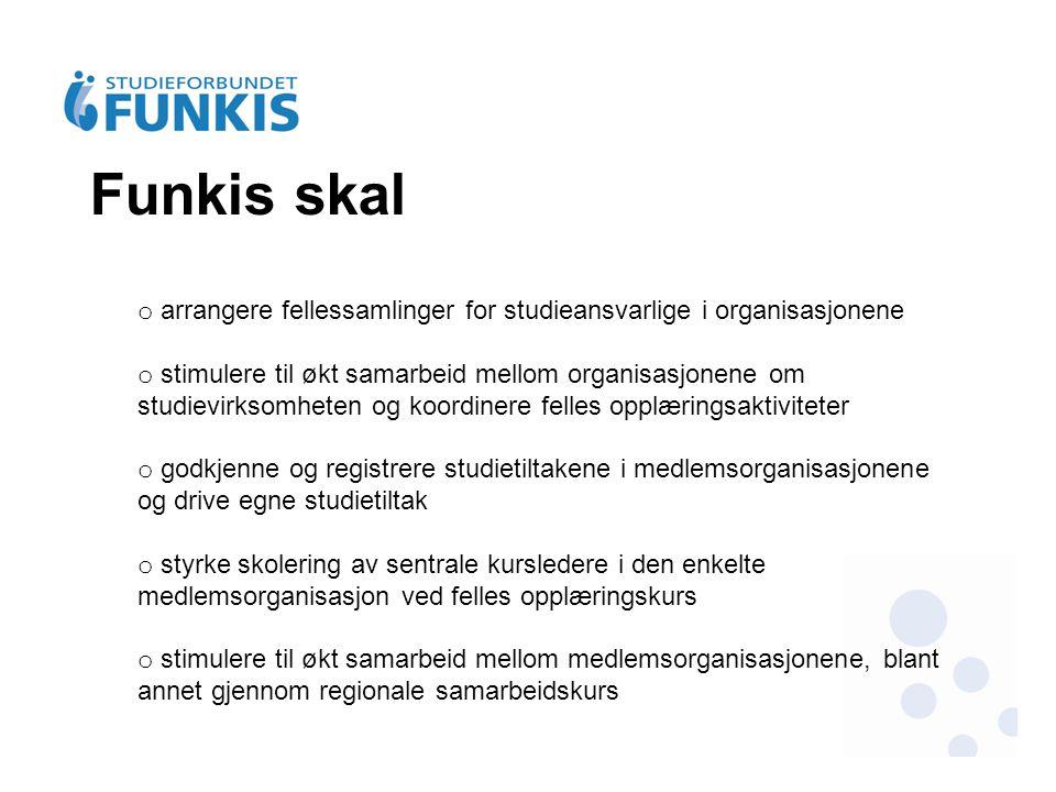 Funkis skal o arrangere fellessamlinger for studieansvarlige i organisasjonene o stimulere til økt samarbeid mellom organisasjonene om studievirksomhe