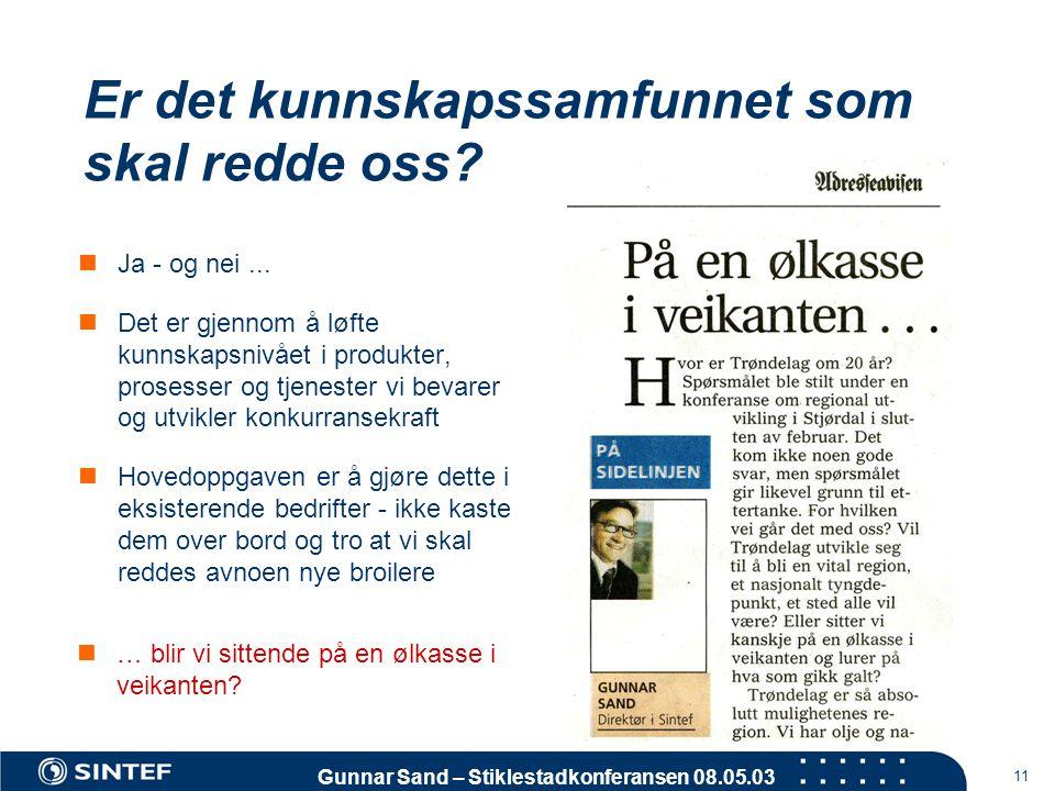 Gunnar Sand – Stiklestadkonferansen 08.05.03 11 Er det kunnskapssamfunnet som skal redde oss?  Ja - og nei...  Det er gjennom å løfte kunnskapsnivåe