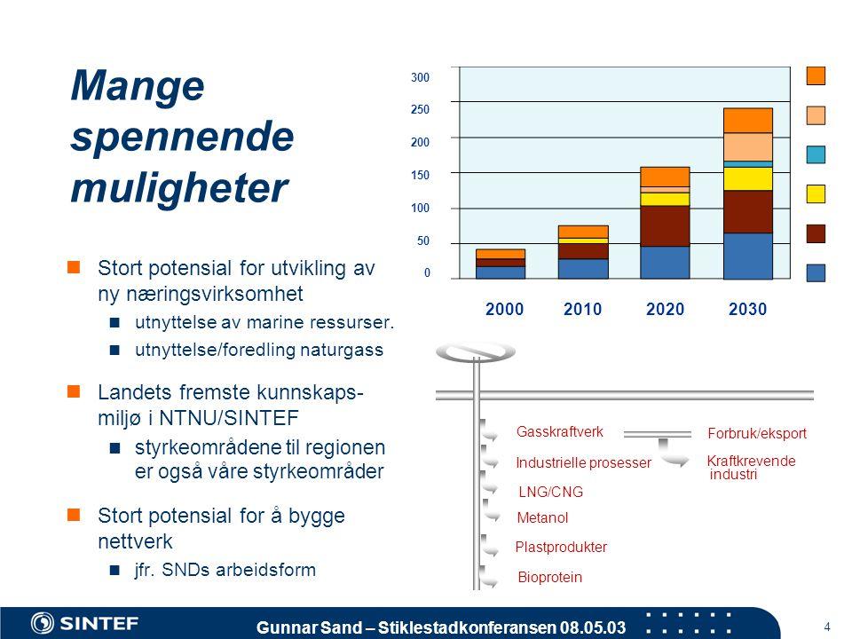 Gunnar Sand – Stiklestadkonferansen 08.05.03 4 Mange spennende muligheter 300 250 200 150 100 50 0 2000 2010 2020 2030  Stort potensial for utvikling