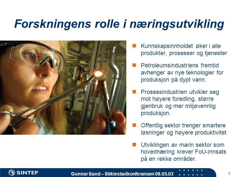 Gunnar Sand – Stiklestadkonferansen 08.05.03 5 Forskningens rolle i næringsutvikling  Kunnskapsinnholdet øker i alle produkter, prosesser og tjeneste