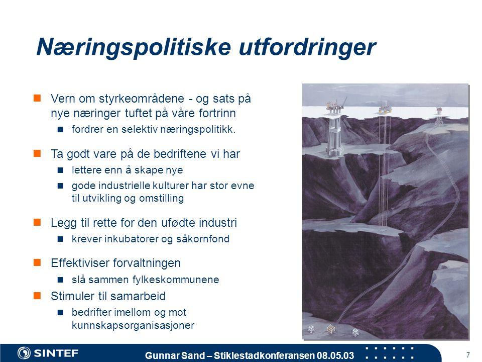 Gunnar Sand – Stiklestadkonferansen 08.05.03 7 Næringspolitiske utfordringer  Vern om styrkeområdene - og sats på nye næringer tuftet på våre fortrin