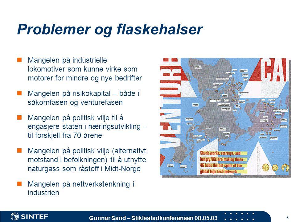 Gunnar Sand – Stiklestadkonferansen 08.05.03 8 Problemer og flaskehalser  Mangelen på industrielle lokomotiver som kunne virke som motorer for mindre