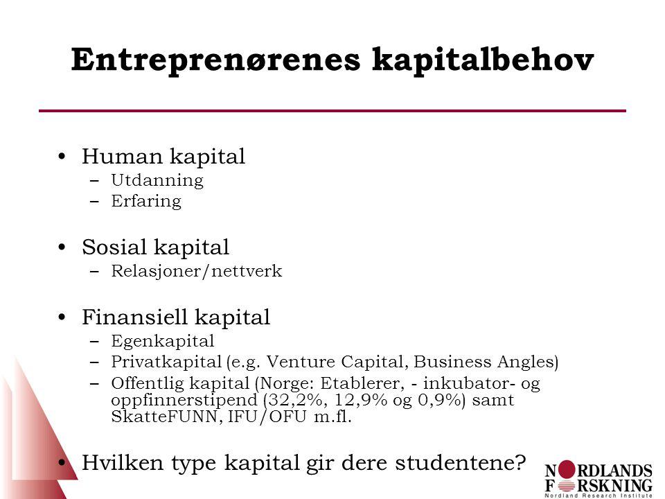 Entreprenørenes kapitalbehov •Human kapital –Utdanning –Erfaring •Sosial kapital –Relasjoner/nettverk •Finansiell kapital –Egenkapital –Privatkapital (e.g.