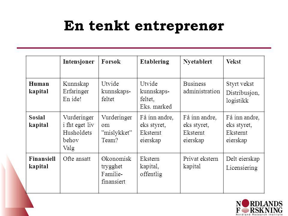 En tenkt entreprenør IntensjonerForsøkEtableringNyetablertVekst Human kapital Kunnskap Erfaringer En ide.