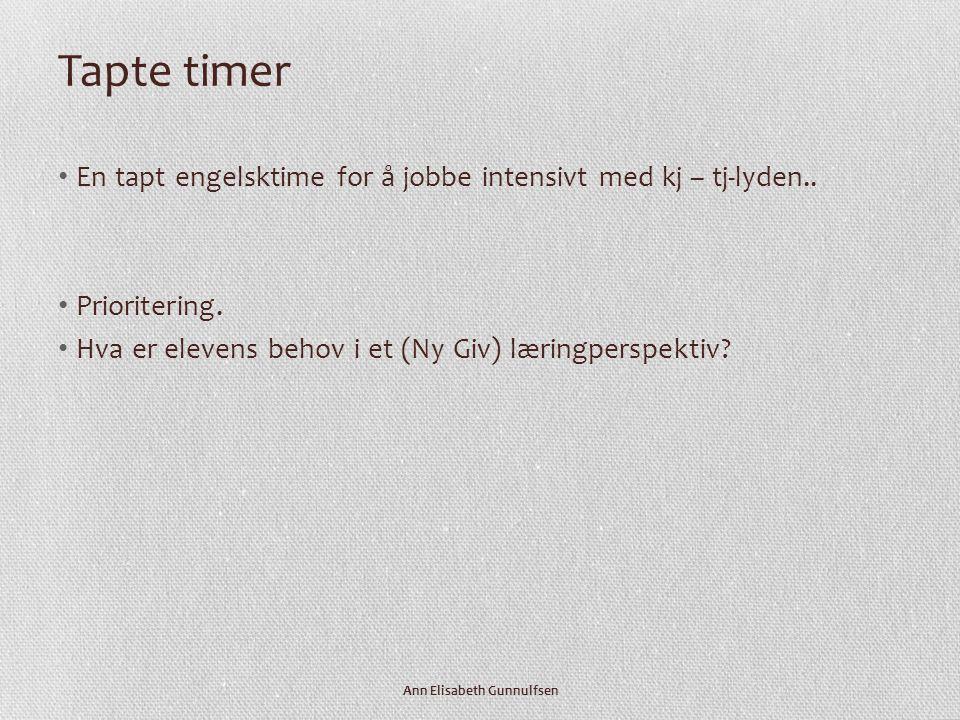 Tapte timer • En tapt engelsktime for å jobbe intensivt med kj – tj-lyden..