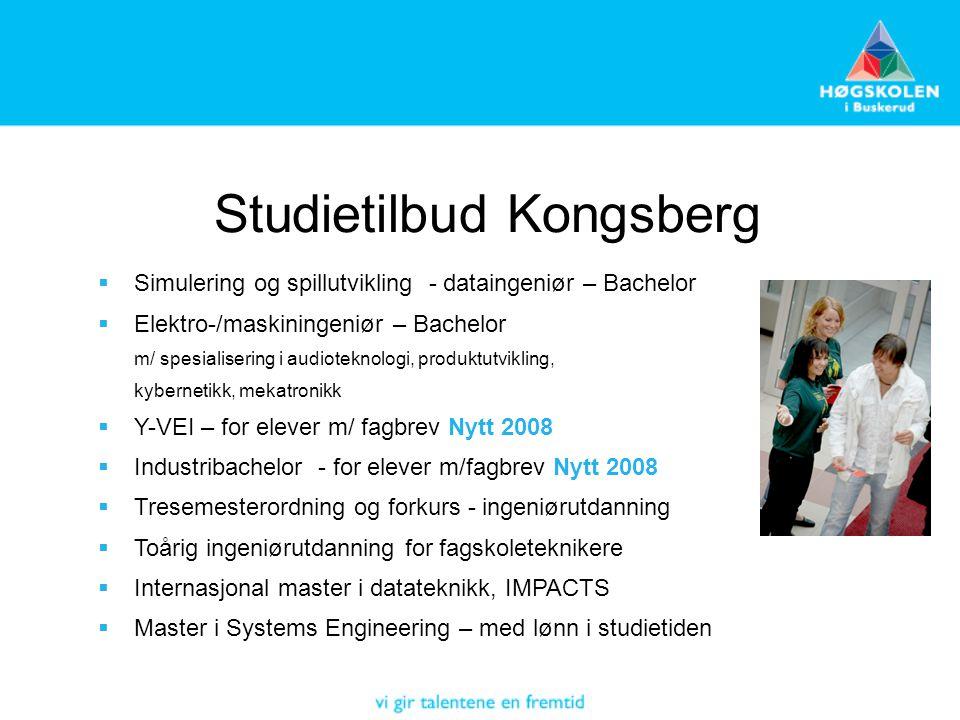 Studietilbud Kongsberg  Simulering og spillutvikling - dataingeniør – Bachelor  Elektro-/maskiningeniør – Bachelor m/ spesialisering i audioteknolog