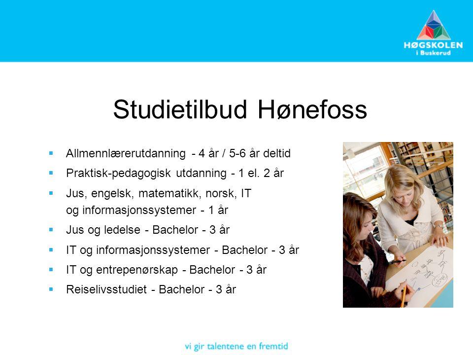Studietilbud Hønefoss  Allmennlærerutdanning - 4 år / 5-6 år deltid  Praktisk-pedagogisk utdanning - 1 el. 2 år  Jus, engelsk, matematikk, norsk, I
