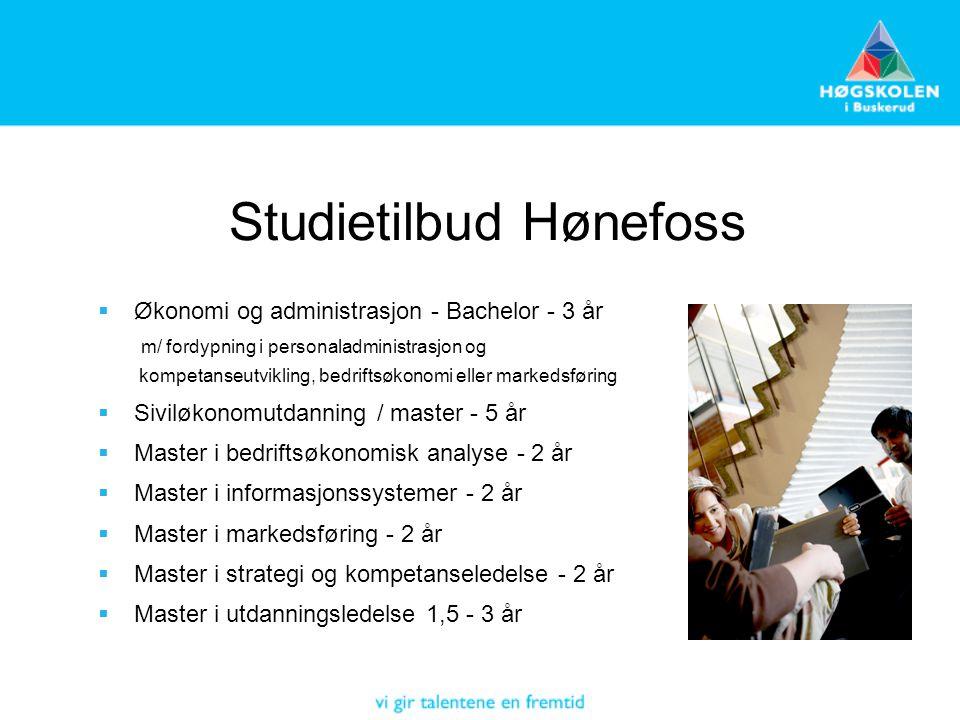 Studietilbud Hønefoss  Økonomi og administrasjon - Bachelor - 3 år m/ fordypning i personaladministrasjon og kompetanseutvikling, bedriftsøkonomi ell