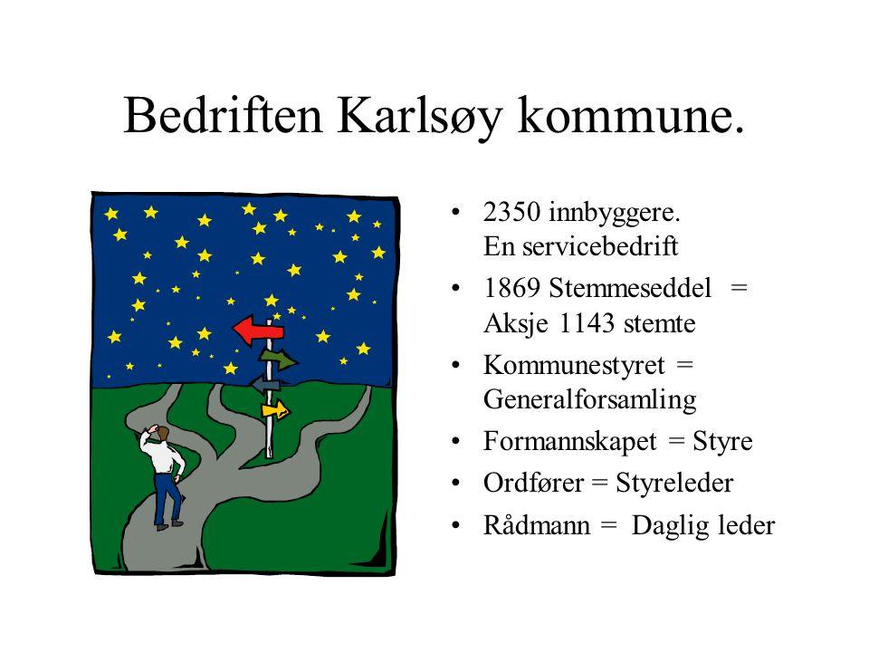 Bedriften Karlsøy kommune. •2350 innbyggere. En servicebedrift •1869 Stemmeseddel = Aksje 1143 stemte •Kommunestyret = Generalforsamling •Formannskape