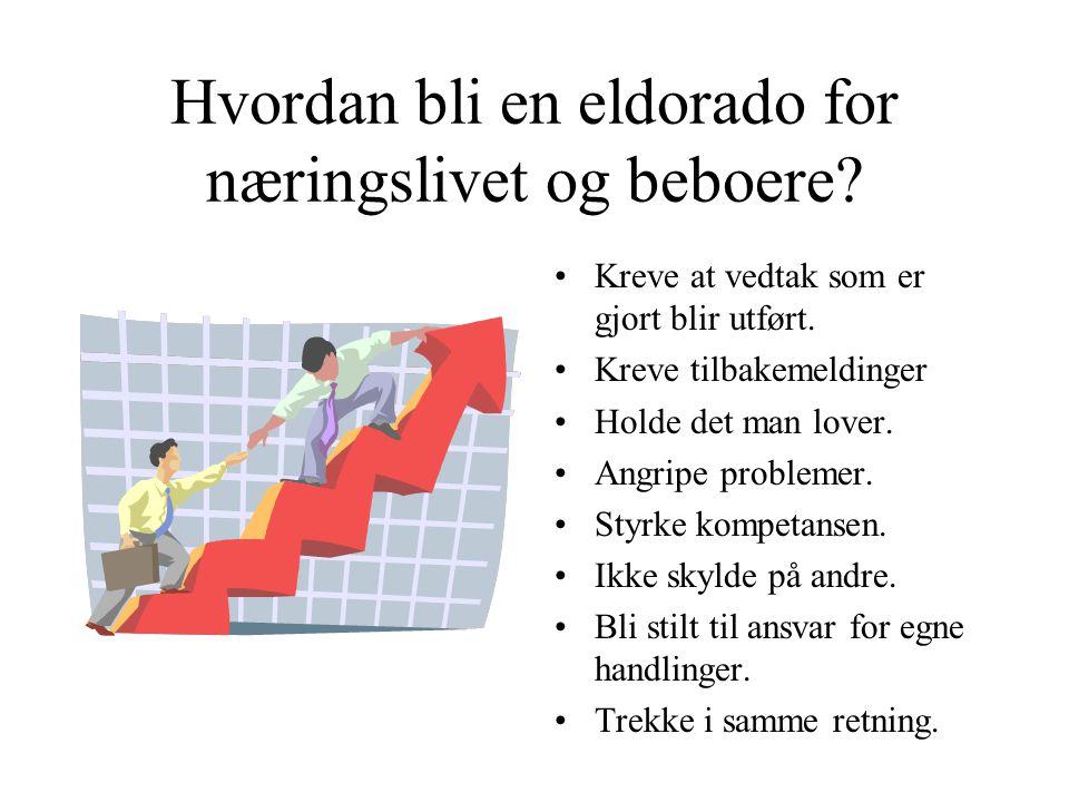 Hvordan bli en eldorado for næringslivet og beboere? •Kreve at vedtak som er gjort blir utført. •Kreve tilbakemeldinger •Holde det man lover. •Angripe