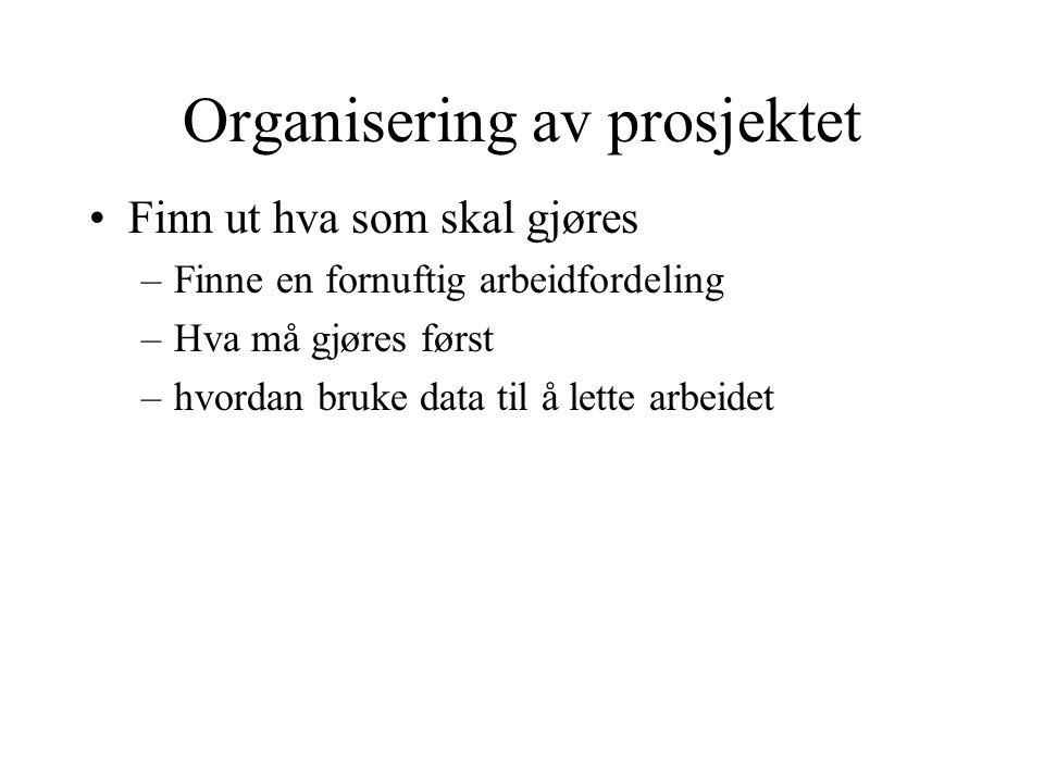 Organisering av prosjektet •Finn ut hva som skal gjøres –Finne en fornuftig arbeidfordeling –Hva må gjøres først –hvordan bruke data til å lette arbeidet