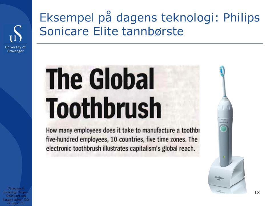 Eksempel på dagens teknologi: Philips Sonicare Elite tannbørste Utdanning & forskning i Norge -- Gullslottet som henger i luften , Oslo 29.