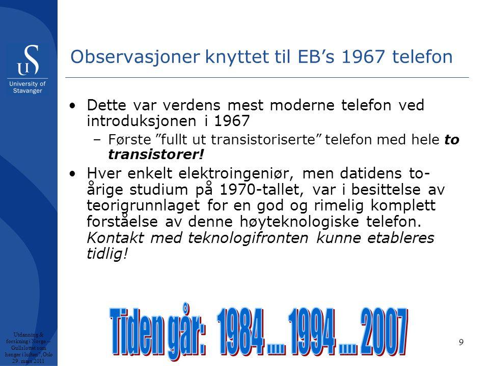 9 Observasjoner knyttet til EB's 1967 telefon •Dette var verdens mest moderne telefon ved introduksjonen i 1967 –Første fullt ut transistoriserte telefon med hele to transistorer.