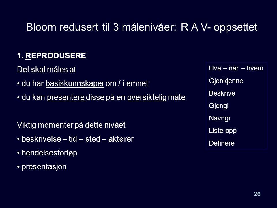 26 Bloom redusert til 3 målenivåer: R A V- oppsettet 1. REPRODUSERE Det skal måles at • du har basiskunnskaper om / i emnet • du kan presentere disse