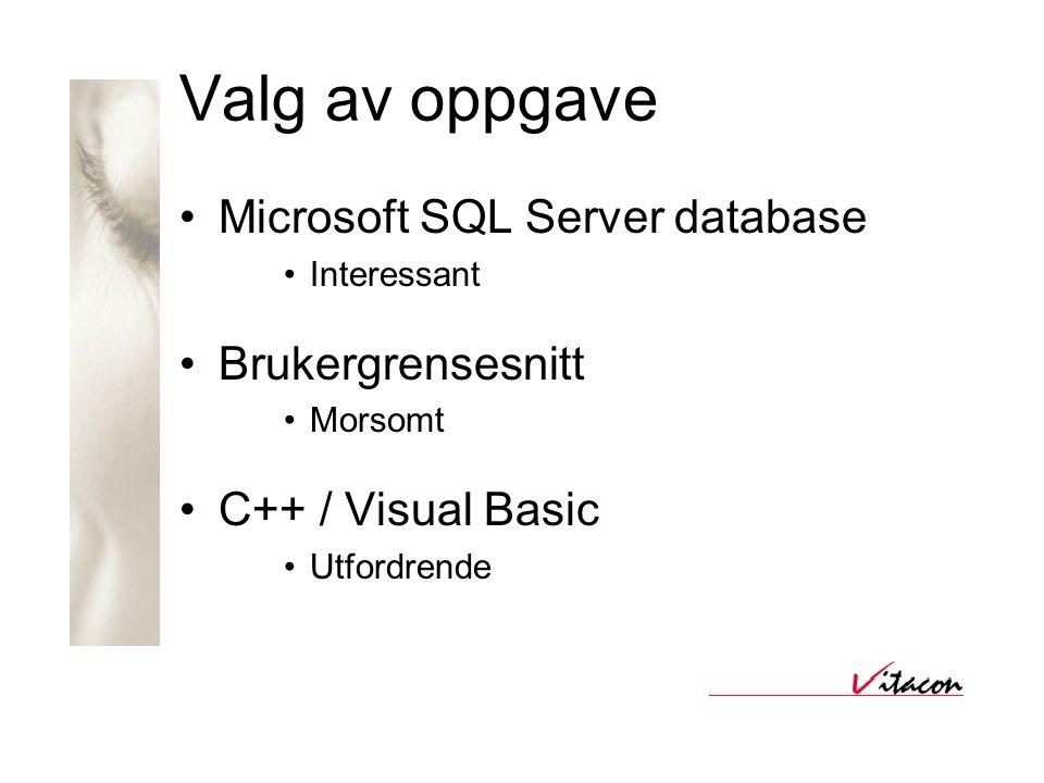 Valg av oppgave •Microsoft SQL Server database •Interessant •Brukergrensesnitt •Morsomt •C++ / Visual Basic •Utfordrende