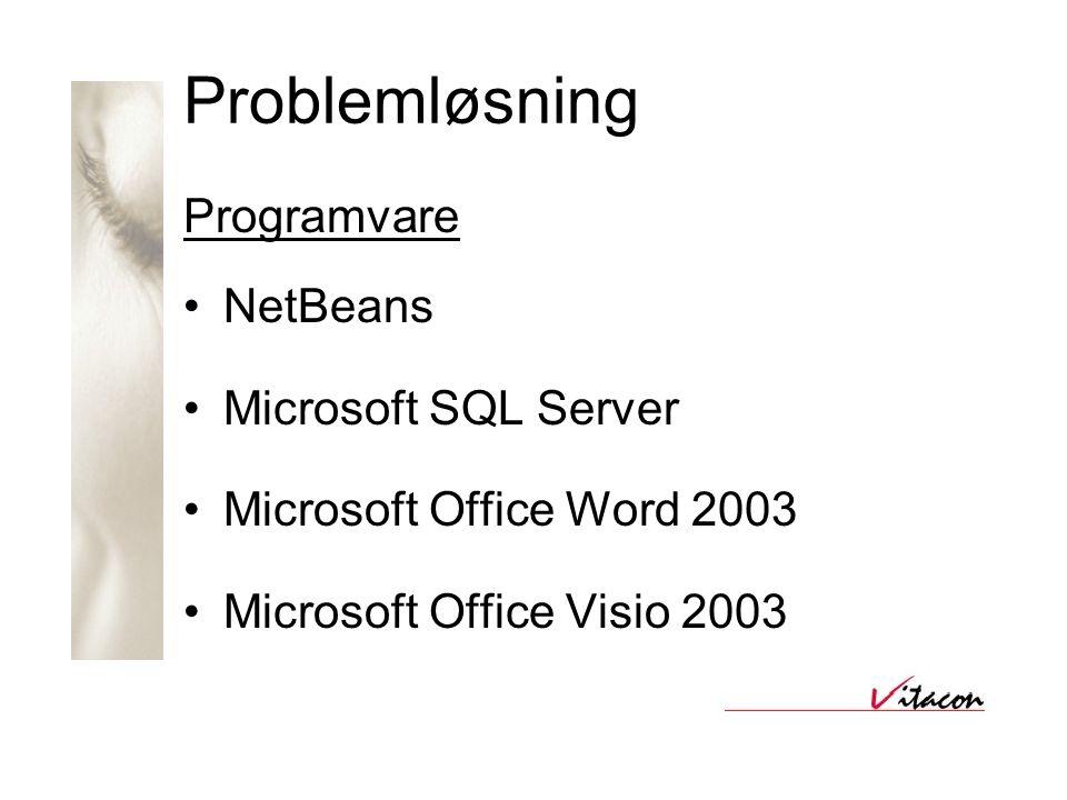 Problemløsning Programvare •NetBeans •Microsoft SQL Server •Microsoft Office Word 2003 •Microsoft Office Visio 2003