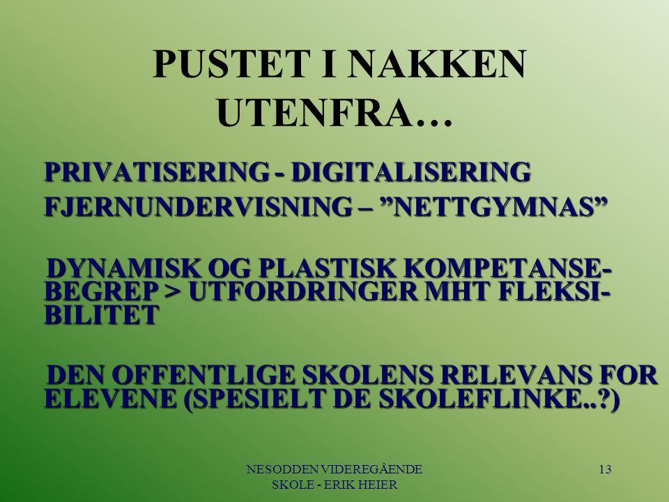 """NESODDEN VIDEREGÅENDE SKOLE - ERIK HEIER 13 PUSTET I NAKKEN UTENFRA… PRIVATISERING - DIGITALISERING FJERNUNDERVISNING – """"NETTGYMNAS"""" PRIVATISERING - D"""