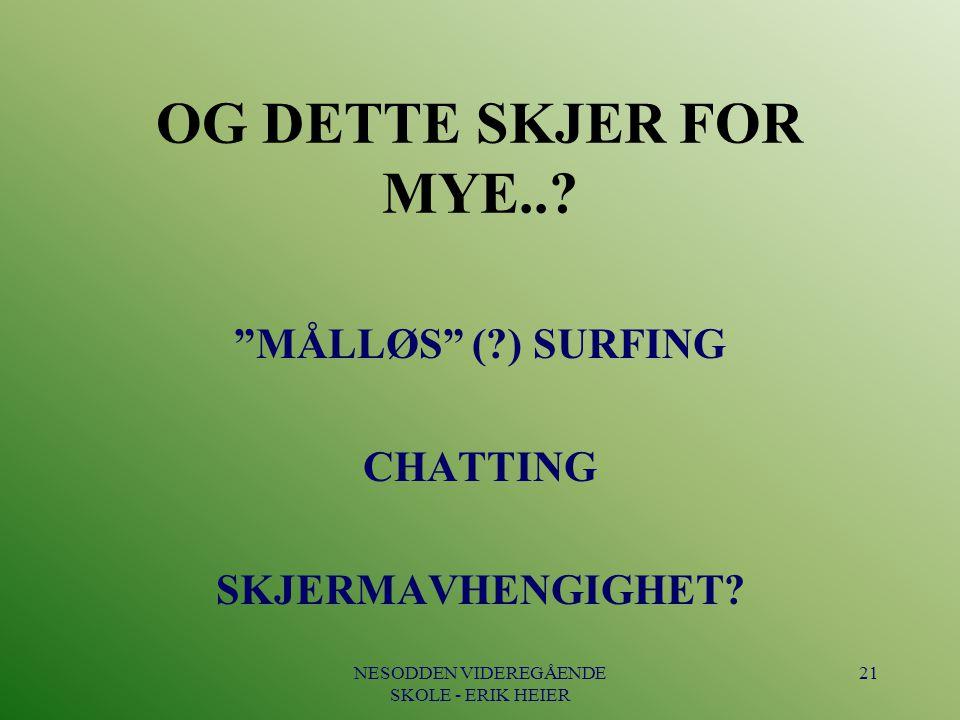 """NESODDEN VIDEREGÅENDE SKOLE - ERIK HEIER 21 OG DETTE SKJER FOR MYE..? """"MÅLLØS"""" (?) SURFING CHATTING SKJERMAVHENGIGHET?"""