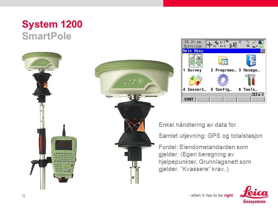 32 System 1200 SmartPole Enkel håndtering av data for Samlet utjevning: GPS og totalstasjon Fordel: Eiendomstandarden som gjelder. (Egen beregning av