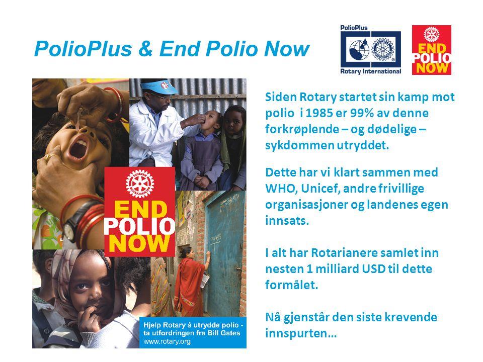 PolioPlus & End Polio Now Siden Rotary startet sin kamp mot polio i 1985 er 99% av denne forkrøplende – og dødelige – sykdommen utryddet.