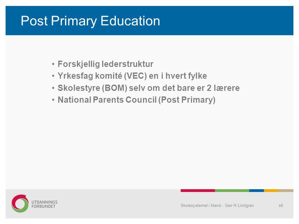 Post Primary Education •Forskjellig lederstruktur •Yrkesfag komité (VEC) en i hvert fylke •Skolestyre (BOM) selv om det bare er 2 lærere •National Par
