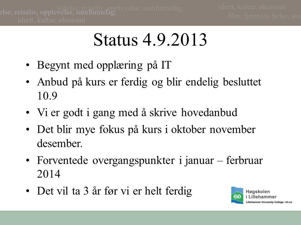 Status 4.9.2013 •Begynt med opplæring på IT •Anbud på kurs er ferdig og blir endelig besluttet 10.9 •Vi er godt i gang med å skrive hovedanbud •Det blir mye fokus på kurs i oktober november desember.